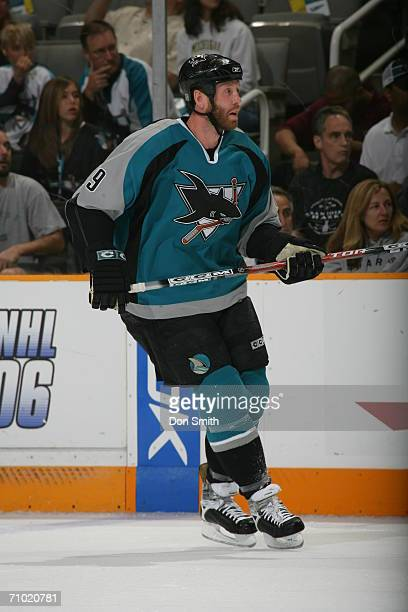 Joe Thornton of the San Jose Sharks skates during game five of the Western Conference Semifinals against the Edmonton Oilers on May 14 2006 at the HP...