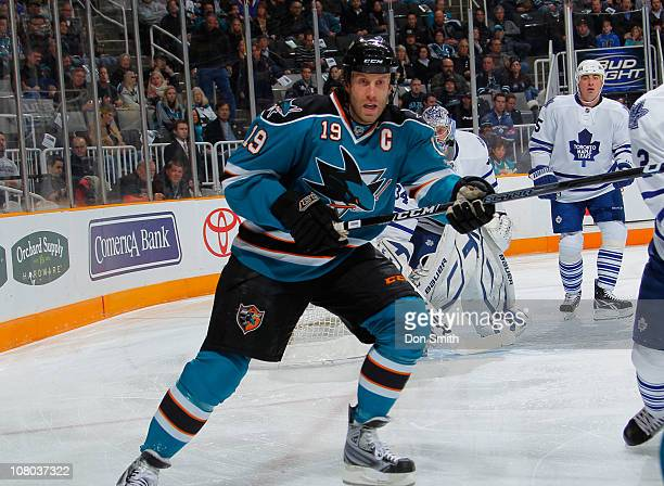 Joe Thornton of the San Jose Sharks skates for the puck against the Toronto Maple Leafs during an NHL game on January 11, 2011 at HP Pavilion at San...