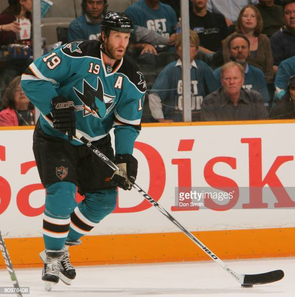Joe Thornton of the San Jose Sharks skates on ice with the puck during game two of the 2008 NHL Stanley Cup Playoffs conference quarterfinal series...