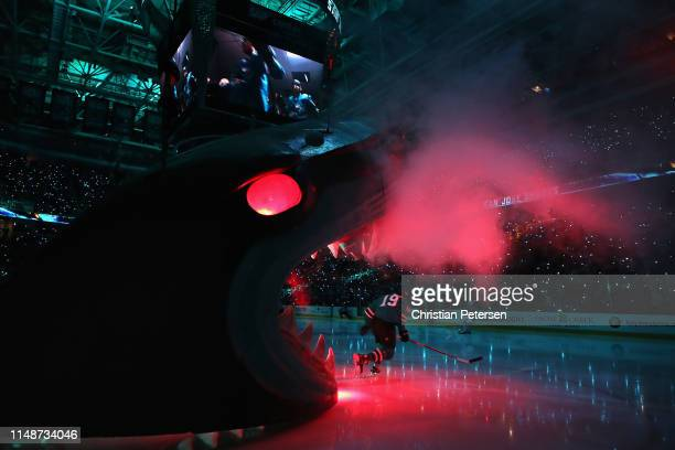 Joe Thornton of the San Jose Sharks skates onto the ice against the St Louis Blues in Game One NHL Western Conference Final during the 2019 NHL...