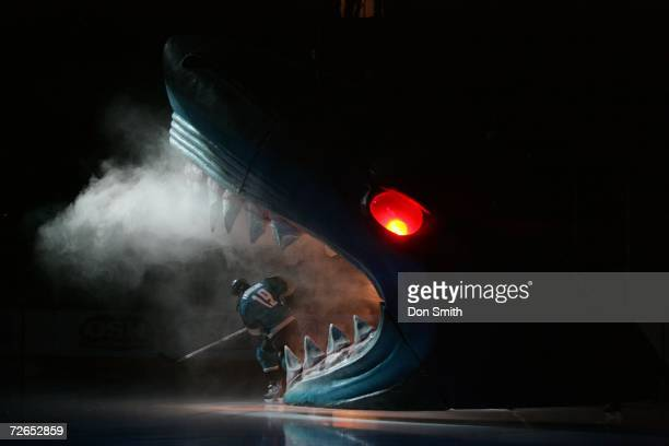 Joe Thornton of the San Jose Sharks skates through the Sharks head prior to a game against the Minnesota Wild on November 7 2006 at the HP Pavilion...