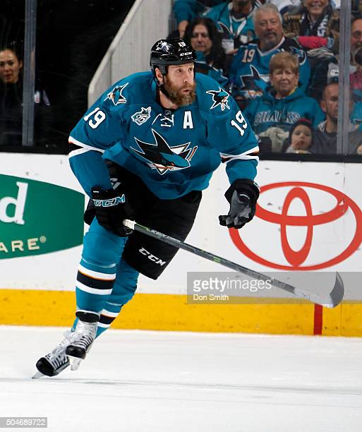 Joe Thornton of the San Jose Sharks skates up ice during a NHL game at the SAP Center at San Jose on January 9, 2016 in San Jose, California.