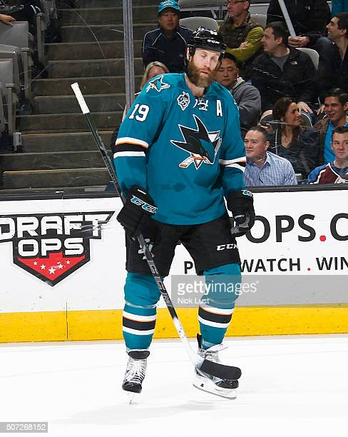 Joe Thornton of the San Jose Sharks skates up the ice against the Colorado Avalanche during a NHL game at the SAP Center at San Jose on January 26,...