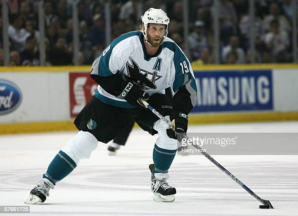Joe Thornton of the San Jose Sharks skates with the puck against the Edmonton Oilers in game six of the Western Conference Semifinals at Rexall Place...