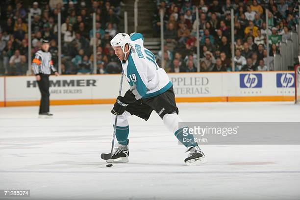 Joe Thornton of the San Jose Sharks skates with the puck during a game against the Los Angeles Kings on January 7 2006 at the HP Pavilion in San Jose...
