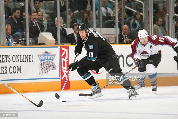 Joe Thornton of the San Jose Sharks skates with the puck during a game against the Colorado Avalanche on December 7, 2006 at the HP Pavilion in San...