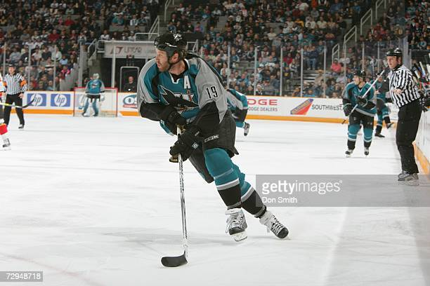 Joe Thornton of the San Jose Sharks skates with the puck during a game against the Calgary Flames on December 23, 2006 at the HP Pavilion in San...