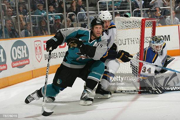 Joe Thornton of the San Jose Sharks skates with the puck during a game against the St Louis Blues on January 20 2007 at the HP Pavilion in San Jose...