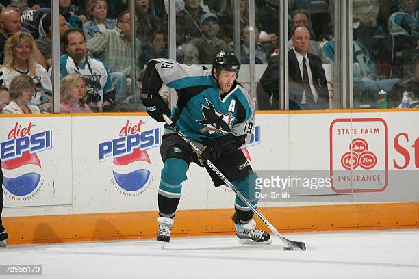 Joe Thornton of the San Jose Sharks skates with the puck during Game 4 of the 2007 Western Conference Quarterfinals against the Nashville Predators...