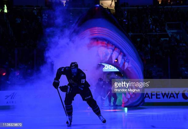 Joe Thornton of the San Jose Sharks takes the ice against the Colorado Avalanche at SAP Center on March 1 2019 in San Jose California