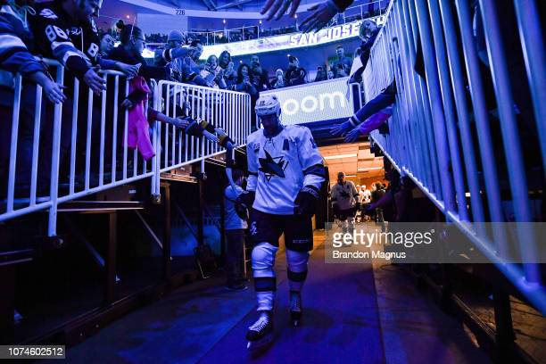 Joe Thornton of the San Jose Sharks takes the ice against the Los Angeles Kings at SAP Center on December 22 2018 in San Jose California
