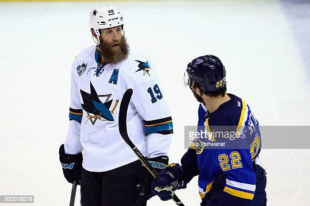 Joe Thornton of the San Jose Sharks talks to Kevin Shattenkirk of the St Louis Blues during the second period in Game Two of the Western Conference...