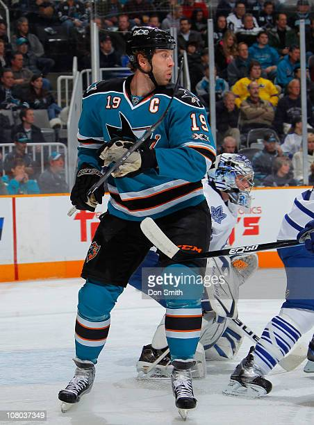 Joe Thornton of the San Jose Sharks watches the play against the Toronto Maple Leafs during an NHL game on January 11, 2011 at HP Pavilion at San...