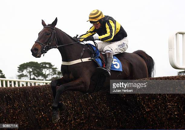 Joe Tizzard and Midnight Queen clear the last fence to go on and win rhe John Smith's Extra Smooth Mares Beginners Steeple Chase Race run at Fontwell...