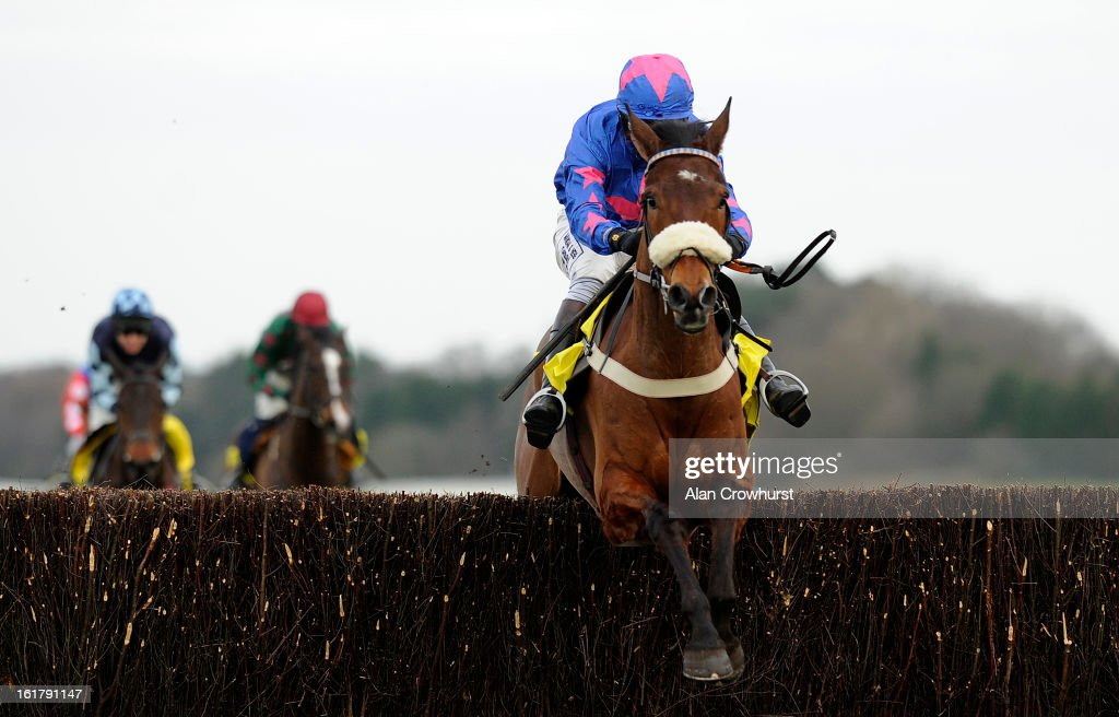 Joe Tizzard riding Cue Card clear the last to win The Betfair Ascot Steeple Chase at Ascot racecourse on February 16, 2013 in Ascot, England.
