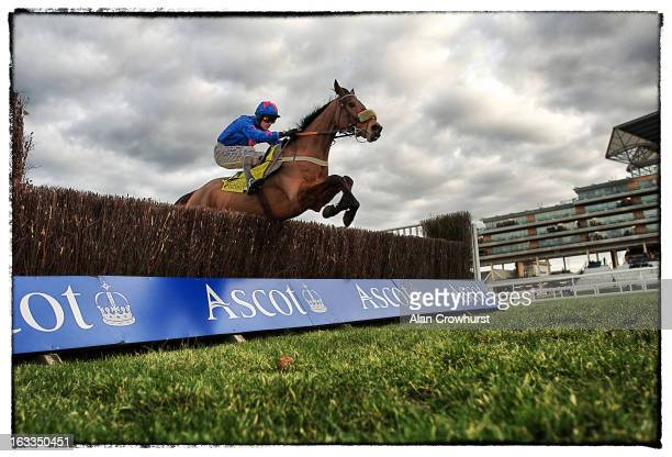 Joe Tizzard riding Cue Card clear the last to win The Betfair Ascot Steeple Chaseat Ascot racecourse on February 16 2013 in Ascot England