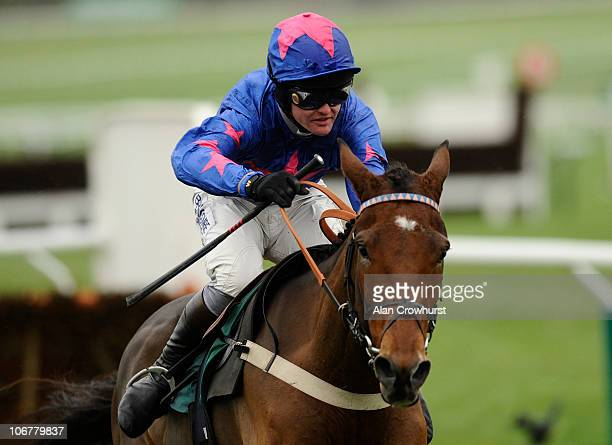 Joe Tizzard riding Cue Card jump the last to win The Cheltenham Collection Sharp Novices' Hurdle Race at Cheltenham racecourse on November 12 2010 in...