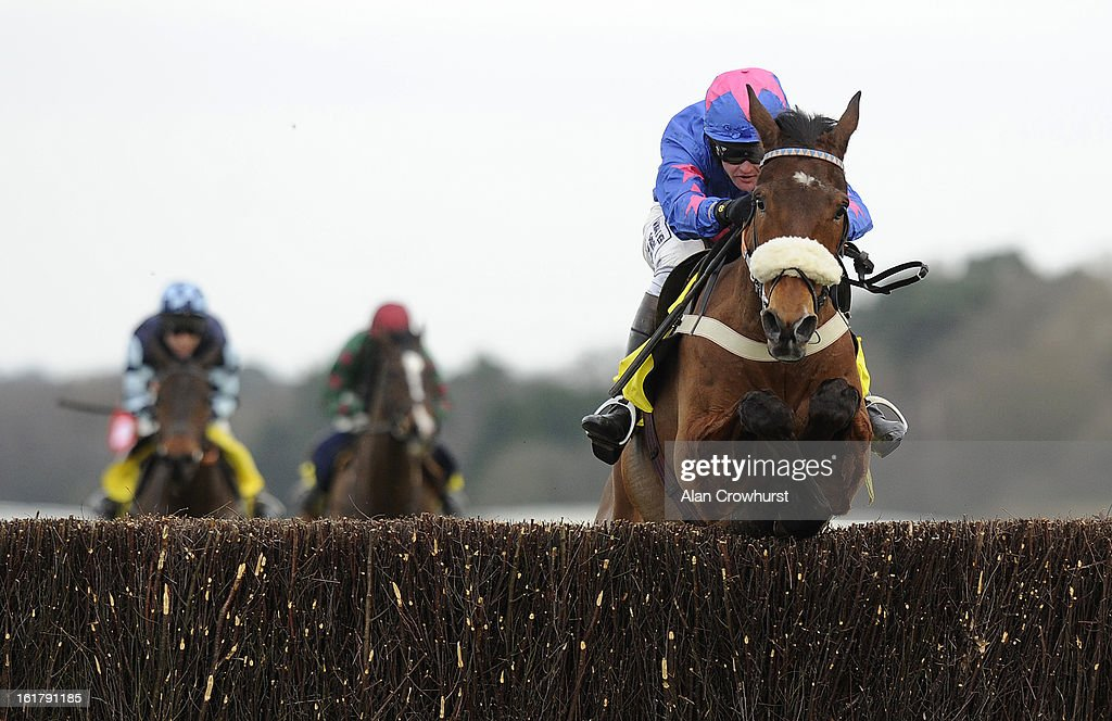 Joe Tizzard riding Cue Card on their way to winning The Betfair Ascot Steeple Chase at Ascot racecourse on February 16, 2013 in Ascot, England.