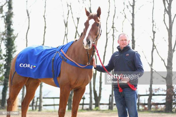 Joe Tizzard with Native River during the national hunt trainer Colin Tizzard stable visit at Spurles Farm on February 21 2018 in Sherborne England