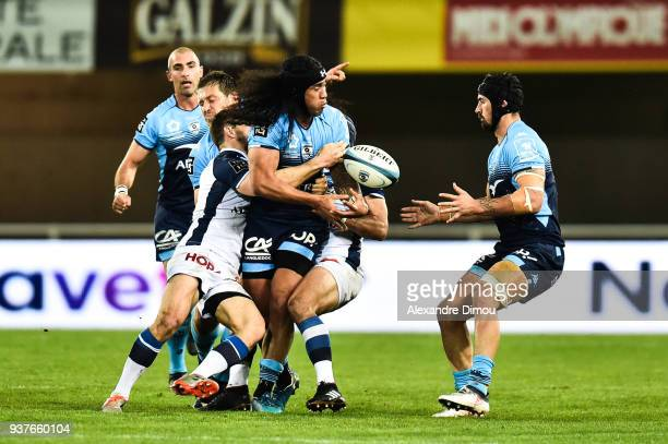 Joe Tomane and Alexandre Dumoulin of Montpellier during the Top 14 match between Montpellier and Castres at on March 24 2018 in Montpellier France