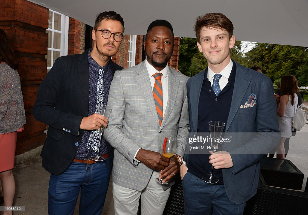 Joe Tootal, Matt Henry and Sam Middleton attend the drinks reception hosted by Dockers, the San Francisco based apparel brand, at Kensington Palace on the eve of 'Dockers Flannels For Heroes' cricket match on June 19, 2014 in London, England.
