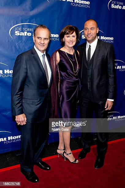 Joe Torre Alice Wolterman and Derek Jeter attend the 11th Anniversary Joe Torre Safe At Home Foundation Gala at Pier Sixty at Chelsea Piers on...