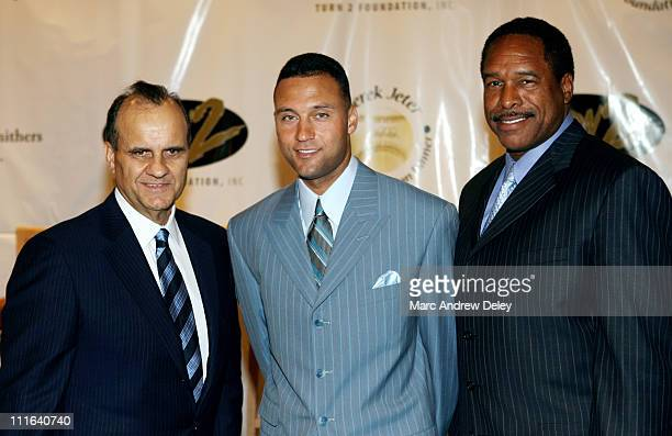 Joe Torre Derek Jeter and Dave Winfield during 10th Annual Derek Jeter Turn 2 Foundation Dinner Press Conference at Marriott Marquis in New York City...