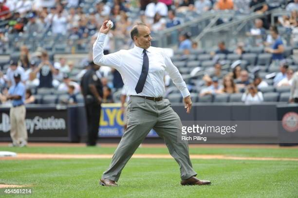 Joe Torre former manager of the New York Yankees throws out the Ceremonial First Pitch during Joe Torre Day prior to the game between the Chicago...