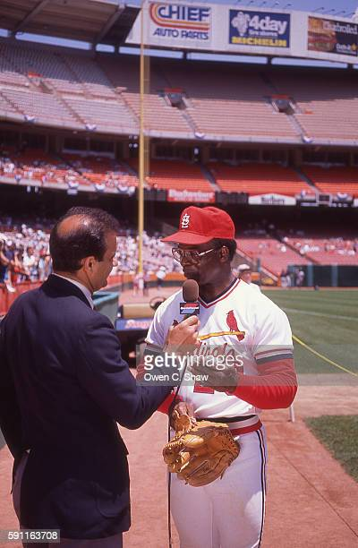 Joe Torre interviews Bob Gibson circa 1989 at the Old Timers game during the 1989 All Star game at the Big A in Anaheim California