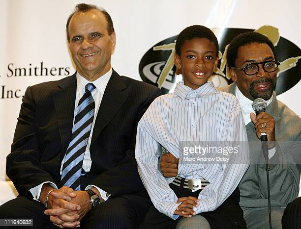 Joe Torre Jordan Lee and Spike Lee during 10th Annual Derek Jeter Turn 2 Foundation Dinner Press Conference at Marriott Marquis in New York City New...