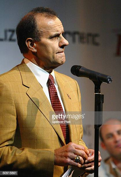 Joe Torre, Manager of the New York Yankees, and a victim of family violence, speaks at the signing of a declaration against family violence that...