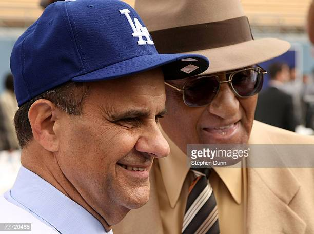 Joe Torre poses with retired Dodger Don Newcombe as the Los Angeles Dodgers introduce Torre as their new manager on November 5 2007 at Dodger...