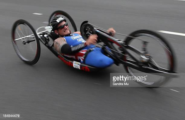 Joe Townsend of Great Britain competes in the cycle leg of the Paratriathlon Male Tri-1 race on October 22, 2012 in Auckland, New Zealand.