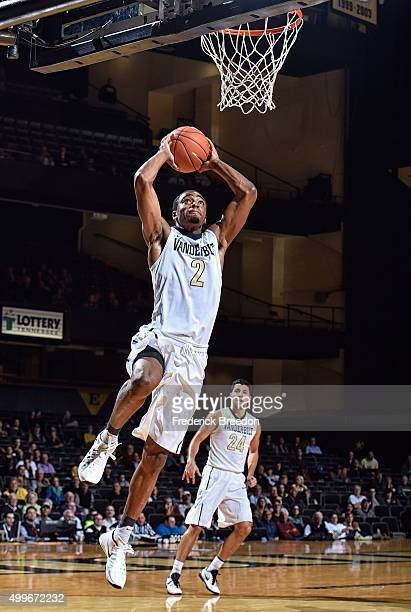 Joe Toye of the Vanderbilt Commodores jumps up to make a dunk against the Detroit Titans during the second half at Memorial Gym on December 2 2015 in...