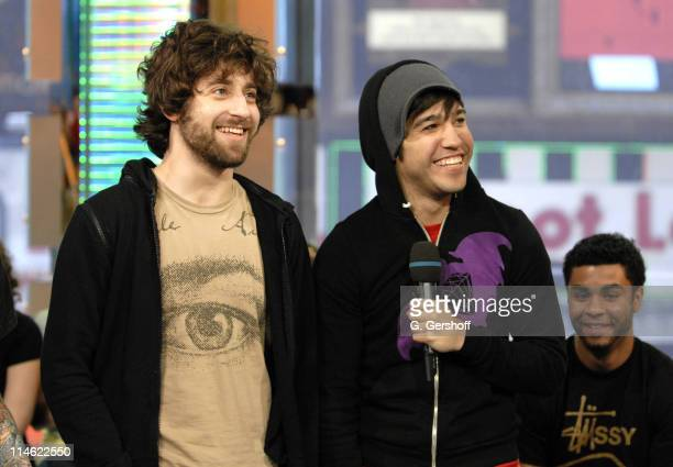 Joe Trohman and Pete Wentz of Fall Out Boy during Fall Out Boy Paul Wall 44 The Academy Is and Cobra Starship Visit MTV's TRL June 5 2007 at MTV...