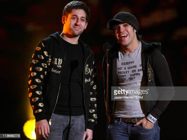 Joe Trohman and Pete Wentz of Fall Out Boy during Spike TV's Scream Awards 2006 Show at Pantages Theater in Hollywood California United States