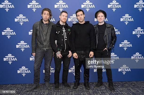 Joe Trohman Andy Hurley Pete Wentz and Patrick Stump of Fall Out Boy attend the MTV 2013 UEMA US Telecast Meet Greet at Intrepid on November 10 2013...