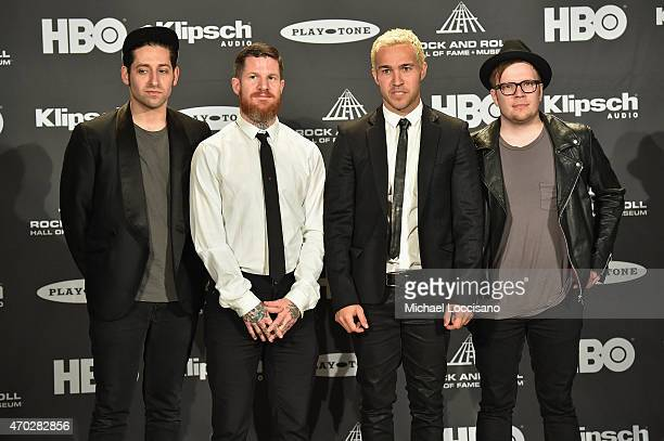 Joe Trohman Andy Hurley Pete Wentz and Patrick Stump of Fall Out Boy attend the 30th Annual Rock And Roll Hall Of Fame Induction Ceremony at Public...