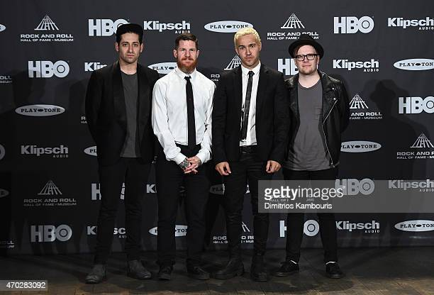 Joe Trohman, Andy Hurley, Pete Wentz and Patrick Stump of Fall Out Boy attend the 30th Annual Rock And Roll Hall Of Fame Induction Ceremony at Public...