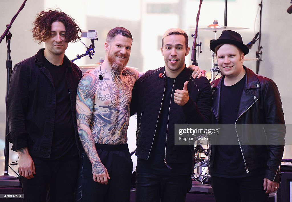 Joe Trohman, Andy Hurley, Pete Wentz, and Patrick Stump of Fall Out Boy pose for a photo after performing on 'Today' at the NBC's TODAY Show on June 12, 2015 in New York, New York.