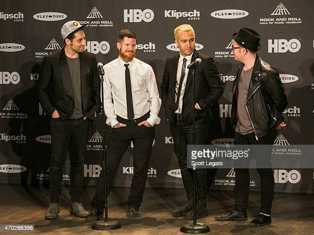 Joe Trohman Andy Hurley Peter Wentz and Patrick Stump of Fall Out Boy speak during the 30th Annual Rock And Roll Hall Of Fame Induction Ceremony at...