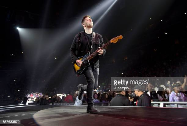 Joe Trohman of the band Fall Out Boy performs at Barclays Center of Brooklyn on October 28 2017 in the Brooklyn borough of New York City