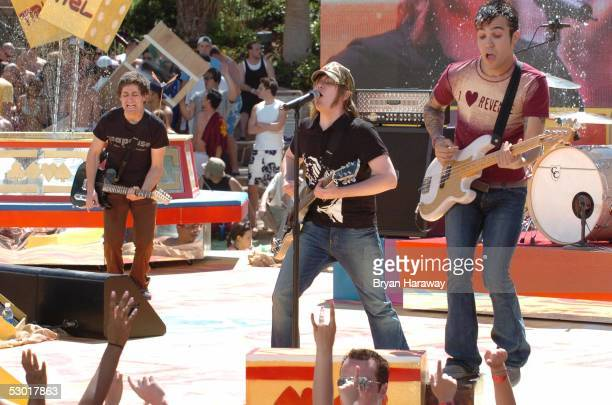 Joe Trohman Patrick Stump and Pete Wentz of Fall Out Boy during their performance at MTV TRL's Summer on the Strip at the Hard Rock Casino on June 3...