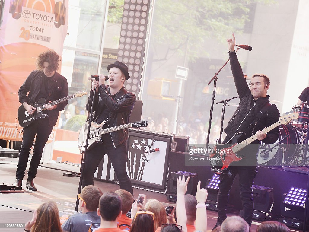Joe Trohman, Patrick Stump, and Pete Wentz of Fall Out Boy perform on NBC's 'Today' at the NBC's TODAY Show on June 12, 2015 in New York, New York.