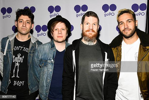 Joe Trohman Patrick Stump Andy Hurley and Pete Wentz of Fall Out Boy pose during the go90 Live Concert Series Celebrating Super Bowl 50 at The...