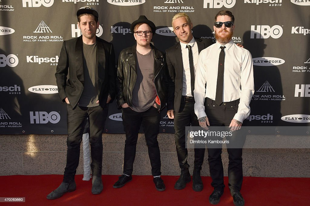 Joe Trohman, Patrick Stump, Pete Wentz and Andy Hurley of Fall Out Boy attend the 30th Annual Rock And Roll Hall Of Fame Induction Ceremony at Public Hall on April 18, 2015 in Cleveland, Ohio.