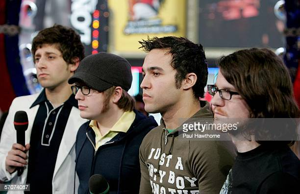 Joe Trohman, Patrick Stump, Pete Wentz and Andy Hurley of Fall Out Boy appear on MTV's Total Request Live at MTV's Time Square Studios March 13, 2006...