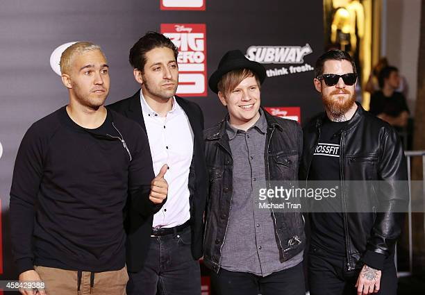 Joe Trohman Pete Wentz Patrick Stump and Andy Hurley of Fall Out Boy arrive at the Los Angeles premiere of Big Hero 6 held at the El Capitan Theatre...