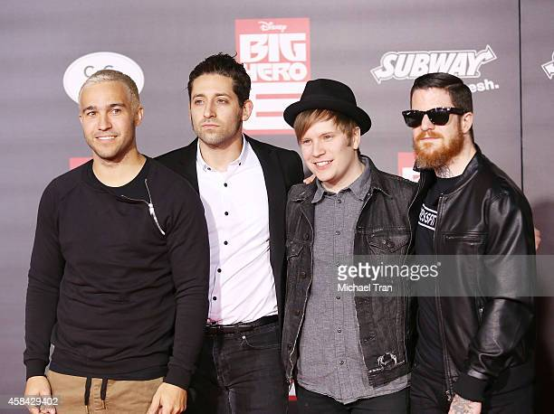 Joe Trohman Pete Wentz Patrick Stump and Andy Hurley of Fall Out Boy arrive at the Los Angeles premiere of 'Big Hero 6' held at the El Capitan...