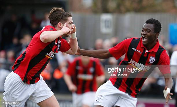 Joe Tumelty and Mustapha Bundu of Hereford celebrate a goal during the FA Vase Semi Final Second Leg Match between Salisbury and Hereford at The Ray...